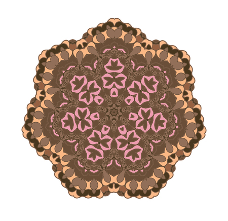 ethnicity: Brown circular pattern background. Ethnicity vector round pattern in muted colors. Folk ornament.