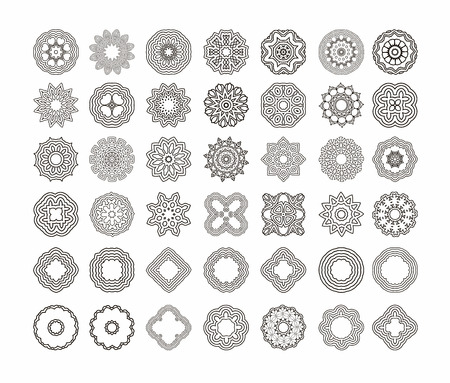 round shape: Circular pattern set of traditional motifs and ancient oriental ornaments. Hand drawn background. Can be used for banner, invitation, wedding card, scrapbooking and others. Round ornament pattern set.