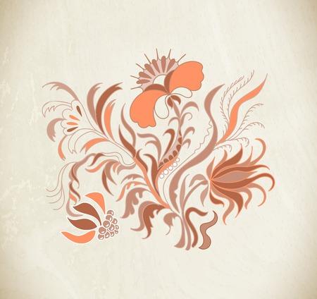 Vintage floral vector illustration. Brown floral ornament. Brown floral pattern with vintage flowers