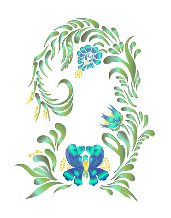 ukrainian traditional: Ethnic flower ornament. Ukrainian traditional style. Petrykivka art. Ukrainian folk art. Vector illustrations. Hand drawn illustration. Illustration