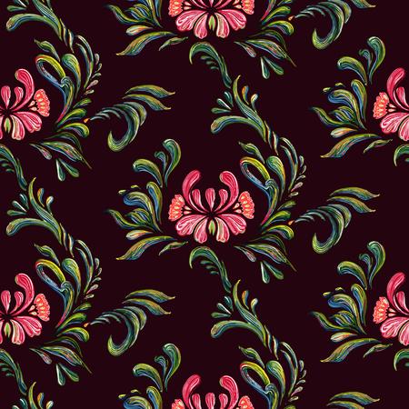 european culture: Vector seamless floral pattern. Ethnic flower seamless ornament. Ukrainian traditional style. Petrykivka art. Ukrainian folk art.