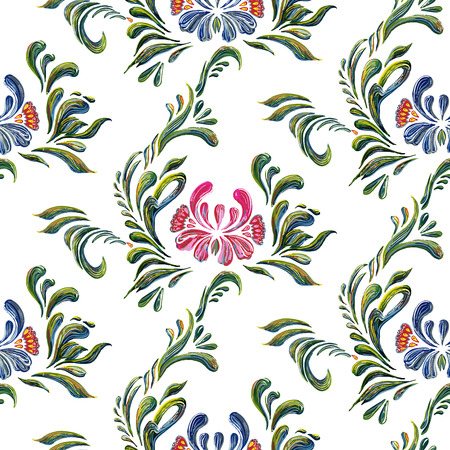 flower ornament: Seamless pattern with floral background. Vector floral pattern. Ethnic flower ornament. Ukrainian traditional style. Petrykivka art. Ukrainian folk art. Illustration