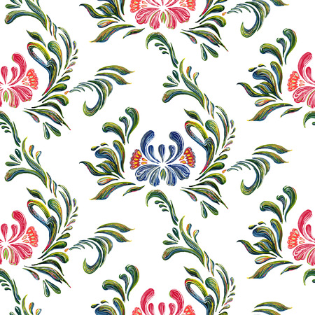ukrainian traditional: Seamless pattern with floral background. Vector floral pattern. Ethnic flower ornament. Ukrainian traditional style. Petrykivka art. Ukrainian folk art. Illustration