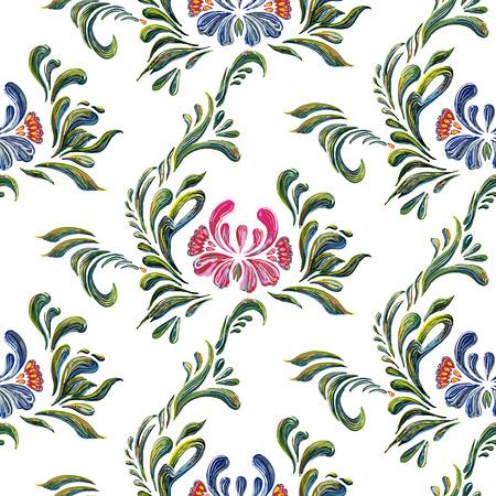 ukrainian traditional: Seamless pattern with floral background. Vector floral pattern. Ethnic flower ornament. Ukrainian traditional style. Petrykivka art. Ukrainian folk art. Stock Photo