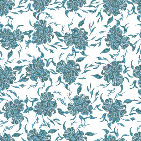 stylishness: Seamless pattern with blue flowers. Flower background Stock Photo