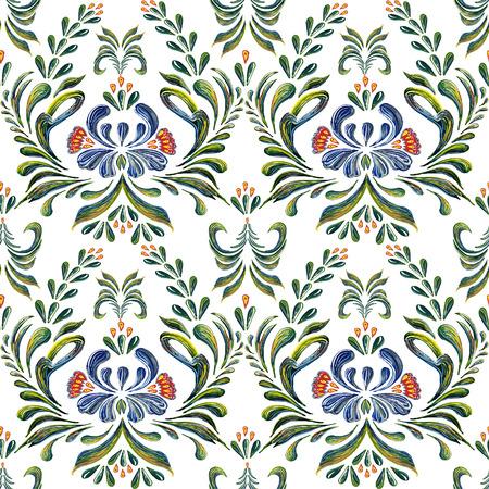 ukrainian traditional: Seamless pattern with floral background. Seamless floral pattern. Ethnic flower ornament. Ukrainian traditional style. Petrykivka art. Ukrainian folk art.