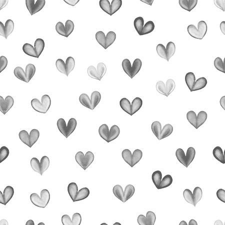 vector raster background: Watercolor hearts seamless pattern. Black and white vector background. Raster version. Stock Photo