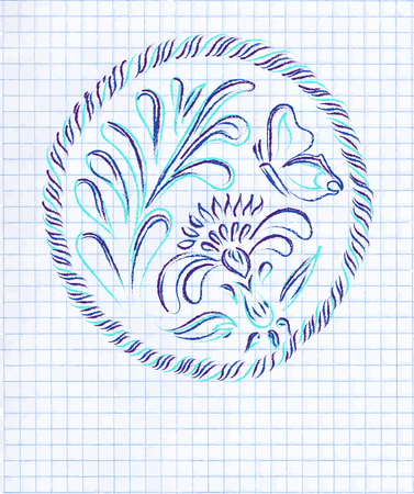 exercise book: Floral decorative illustration. Hand drawn ornament on blank exercise book paper