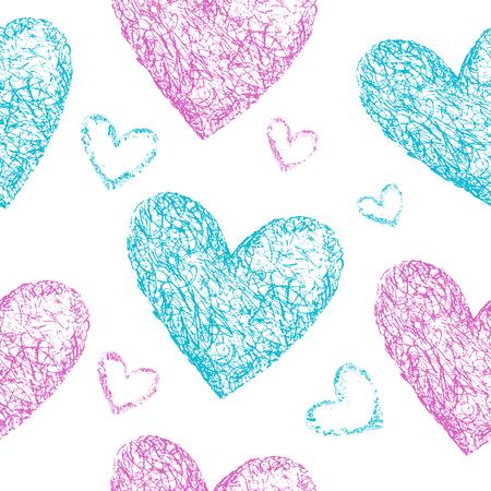 corazones azules: Rosa, corazones azules sin patr�n. Dibujado a mano ilustraci�n. Fondo de la vendimia. San Valent�n de fondo. Foto de archivo