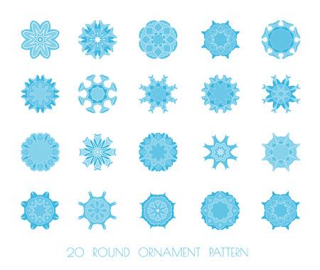 fractals: Set of snowflakes. Snowflakes Christmas icons. Blue snowflakes, fractals or mandala. Raster version