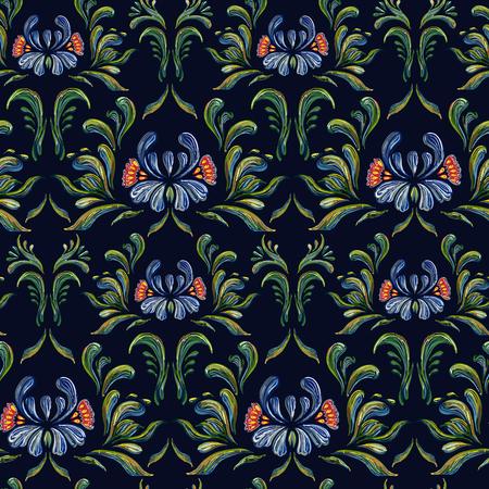 ukrainian traditional: seamless floral pattern. Ethnic blue flower seamless ornament. Ukrainian traditional style. Petrykivka art. Ukrainian folk art.