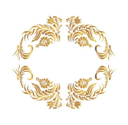 ukrainian: golden floral pattern. Ethnic flower ornament. Ukrainian traditional style. Petrykivka art. Ukrainian folk art.