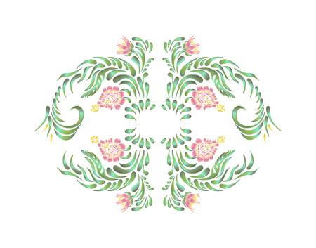 retro flowers: illustration in folk style. border with flowers in vintage style. Floral ornament. Ukrainian folk art. Petrykivka Illustration