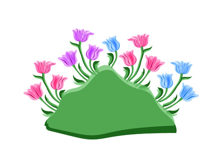 clump: Tulips growing. Background with tulips with space for text clump of tulips isolated on white background