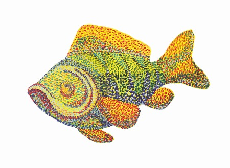 Handmade painting illustration. Fish on white background. Dotted technique. Pointillism 免版税图像