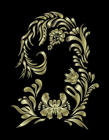 gold metal: Golden floral pattern. Ethnic flower ornament. Ukrainian traditional style. Petrykivka art. Ukrainian folk art.