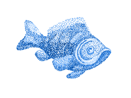 illustration technique: Handmade watercolor painting illustration. Fish on white background. Dotted technique. Pointillism