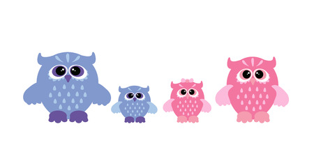 owl family: Cute owl family. Four owls - mother, father, son and daughter