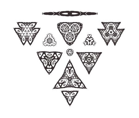 set symbols: Triangular ornament set. Tribal art isolated on white background. Geometric ornament set.