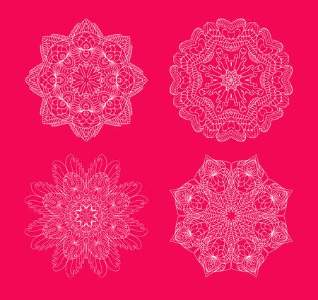 estrellas de navidad: Los copos de nieve establecidos en el fondo rojo. Colección de copos de nieve. Vectores