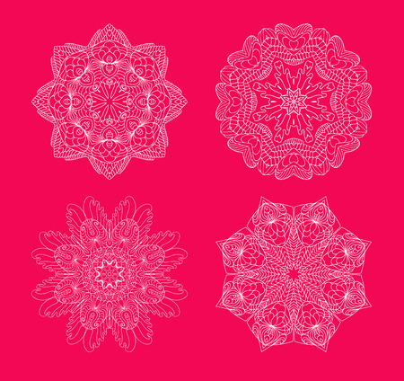 christmas stars: Snowflakes set on red background. Collection of snowflakes. Illustration