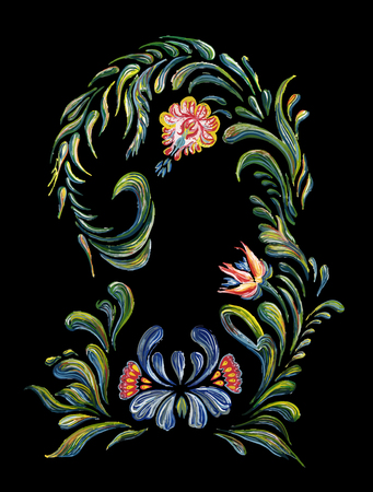 Hand drawn vintage floral ornament. Illustration in folk style on black background. Beautiful border with blue flowers in vintage style. Ilustração