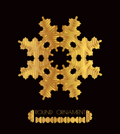 gold ornaments: Mandala golden art. Gold circular ornament on black background. Golden pattern