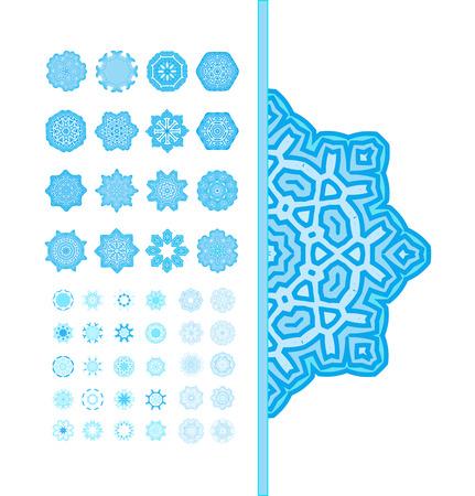 fractals: Set of snowflakes. Snowflakes Christmas icons. Blue snowflakes, fractals or mandala.