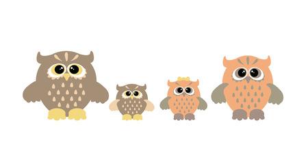 owl family: Set of cartoon owls. Cute owl family. Stock Photo