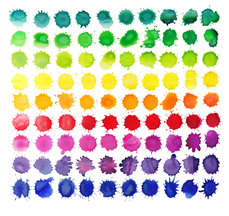 blobs: 90 colorful watercolor splashes isolated on white background. Background made of watercolor rainbow blobs, colorful paint drops texture.