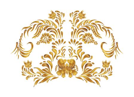 ukrainian traditional: Golden floral pattern. Ethnic flower ornament. Ukrainian traditional style. Petrykivka art. Ukrainian folk art.