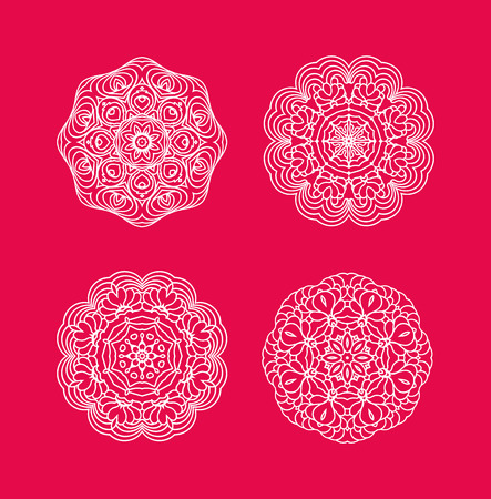 seasonal symbol: White snowflakes on red background. Christmas snowflakes set