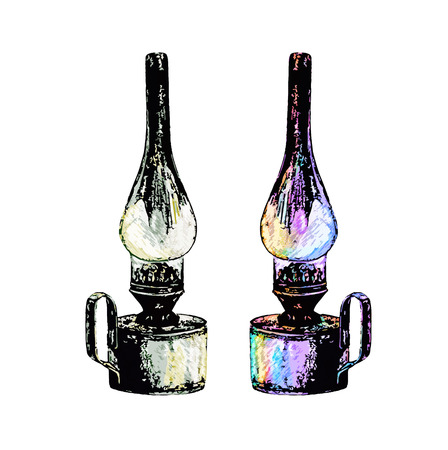 gas lamp: Kerosene lamp. Vintage lantern in sketch style.