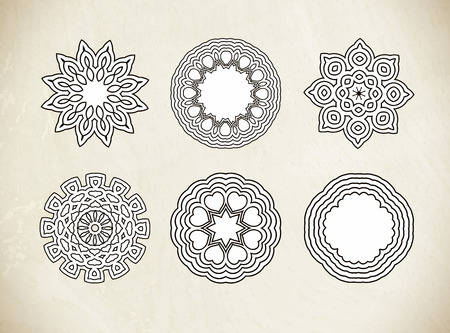 round shape: Circular vector pattern of traditional motifs and ancient oriental ornaments. Hand drawn background. Can be used for banner, invitation, wedding card, scrapbooking and others. Round ornament pattern. Illustration
