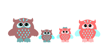owl family: Set of cartoon owls. Cute vector owl family.
