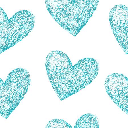 corazones azules: Corazones azules sin patrón. Dibujado a mano ilustración. Fondo de la vendimia. Fondo de San Valentín. Resumen de antecedentes.