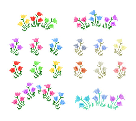line drawing: Tulips flowers illustration. Vector set. Isolated spring tulip