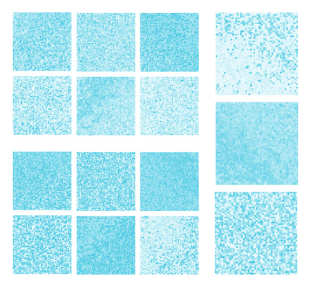 skyblue: Abstract square pixel mosaic background set Illustration