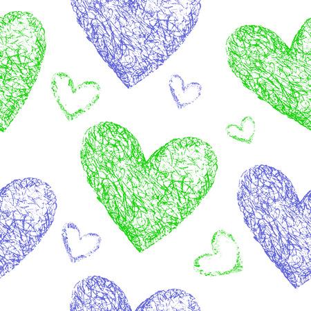 corazones azules: Verdes, azules corazones sin patr�n. Dibujado a mano ilustraci�n. Foto de archivo