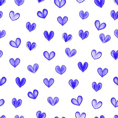 corazones azules: acuarela corazón sin patrón. Corazones azules sin patrón.