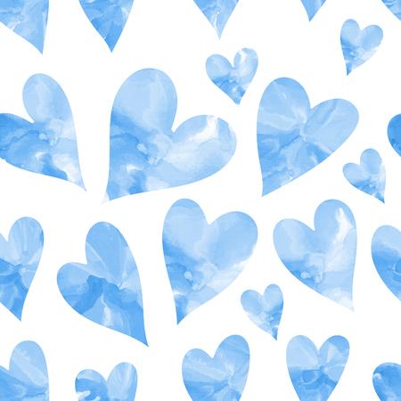 corazones azules: Corazones azules sin patrón. acuarela corazón sin patrón.