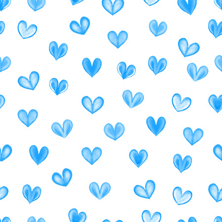 corazones azules: Seamless texture with blue watercolor hearts. Seamless hearts background. Happy Valentines Day. Foto de archivo