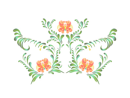 ukrainian traditional: Floral ornament. Ukrainian traditional folk painting. Stock Photo