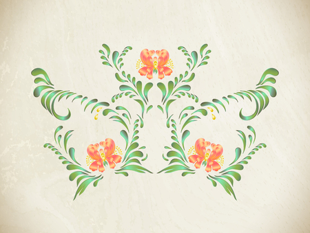 elegance: Abstract elegance pattern with floral background. Ukrainian folk art.
