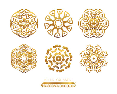 metal pattern: Traditional golden decor on white background.Oriental vector gold pattern. Abstract golden ornament. Vector illustration.