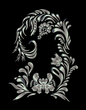 ukrainian traditional: Silver floral pattern. Ethnic flower ornament. Ukrainian traditional style. Petrykivka art. Ukrainian folk art.