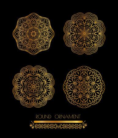 silver texture: Mandala golden art. Gold circular ornament on black background. Golden pattern
