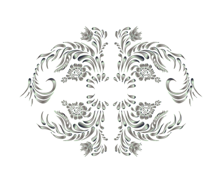 wedding backdrop: Silver ornament on white background. Vintage vector pattern. Hand drawn abstract background.
