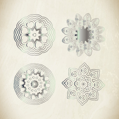 argentum: Traditional silver decor. Oriental silver pattern. Abstract silver ornament.