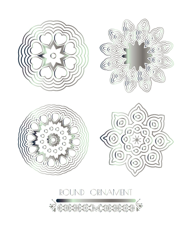 shiny argent: Traditional silver decor. Oriental silver pattern. Abstract silver ornament